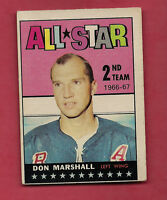 1967-68 TOPPS  # 130 RANGERS DON MARSHALL ALL STAR CARD