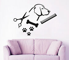 Dog Wall Decal Pet Shop Vinyl Sticker Paw Prints Pet Grooming Salon Decor KI47