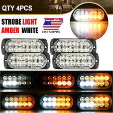 4PCS Strobe Lights Amber White 12-LED Emergency Flashing Warning Hazard Beacon