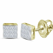 14k Yellow Gold Womens Princess Diamond Square Cluster Stud Earrings 1/4 Cttw