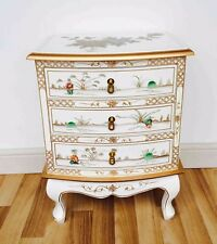 Pair of Oriental Chinese White Lacquer 3 Drawer Chest Bedside cabinets
