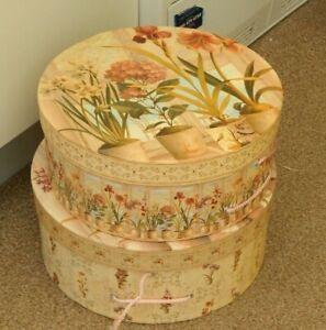 hat boxes /  storage boxes with lids - set of 2 - floral design