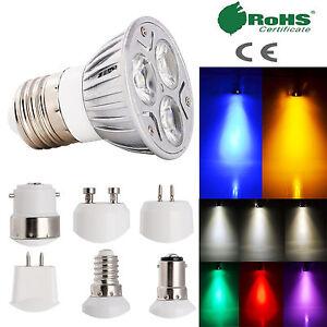 UK E27 ES E14 SES GU10 MR16 B15 B22 GU5.3 SpotLight Lamp 3W LED Bulbs AC 85-265V