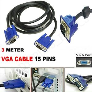 3M SVGA VGA HIGH RESOLUTION CABLE 15 PIN PC TO TFT MONITOR LCD TV LEAD METERS