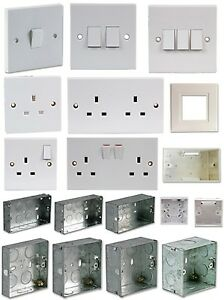 Electrical Fittings Plug Socket Light Switches Back Boxes 1 2 3 Gang Switched