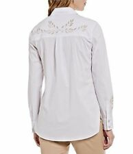 Sigrid Olsen Women's Blouse 16 White/Gold Embroidery Button Front Collar NWT