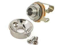 ELECTROSOCKET JACK PLATE - POLISHED NICKEL - TELE -w/SCREWS + SWITCHCRAFT JACK