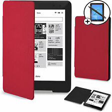 Rouge Coque Smart Wallet Case Cover Kobo Aura One 7.8 Screen Prot & Stylus