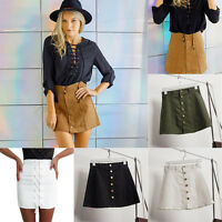 Women High Waist Denim Bodycon Skirt  Mini Jeans Short Single-breasted Skirts