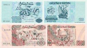 Algeria 2 Note Set: 100 & 200 Dinars (1992) - p137 & p138 UNC