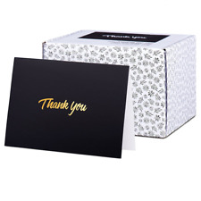Thank You Cards Pack of 100 Gold Text on Black Paper with Envelopes Friends Gift