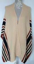 Pull&Bear Knitted Cape UK M Beige Poncho Navy and Wine Stripe Boho Warm