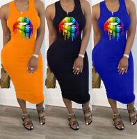 Stylish Women Sleeveless Colorful Lip Print O Neck Patchwork Bodycon Club Dress
