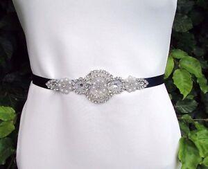 Navy Blue Silver Pearl Diamante Belt Sash 1920s Flapper Dress Bridesmaid 3344