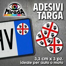 ADESIVI STICKERS BOLLINO TARGA BANDIERA SARDA SARDEGNA 4 MORI AUTO MOTO PLATE 2