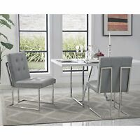 Square Back Armless Upholstered Dining Chair Set of 2 PU Leather Velvet Fabric