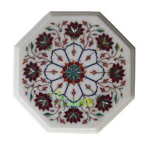"12"" Marble Coffee Table Top Carnelian Stone Inlay Handmade Floral Art Home Decor"