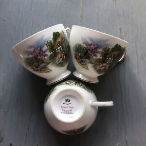 Royal Vale Thatched Cottage Tea Cups Set Of 3 Good Condition