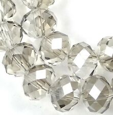 """8x6mm Faceted AB Glass Light Smoky Quartz Rondelle Beads 16"""""""