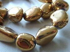3 goldene Glas Kristall Perle Zwischenteil Nugget Brocken gold vergoldet 2763