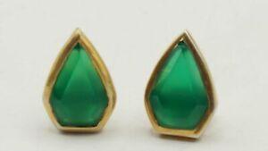 Gold Plated 925 Silver Chrysoprase Earrings 2.5g AET452