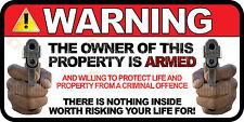 LOT OF 3 Owner is Armed Warning 2nd Amendment Guns Firearm Vinyl Sticker Decal