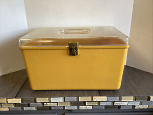 Vintage Wil-Hold Wilson Mfg L Gold Plastic Sewing Box Kit w 1 Clear Storage Tray