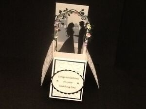Handmade Wedding Day Bride and Groom under arbour in a box -pop up design