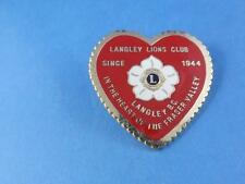 LIONS CLUB CANADA LANGLEY BC FRASER VALLEY SINCE 1944 HEART VINTAGE PIN PINBACK