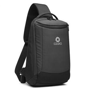 Men's Sling Backpack Oxford cloth Waterproof Crossbody Shoulder Bag USB Port