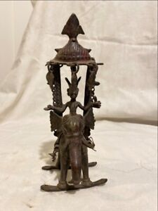 Antique Old Rare Bronze Hand Carved South India God On Elephant Rare Sculpture