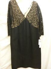 MAGGY LONDON  BLACK LACE V NECK DRESS 3/4 SLEEVE SHEATH COCKTAIL FORMAL S 16 NEW