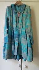 New Le Jean Marithe + Francois Girbaud grey teal & turquoise cotton shirt dress