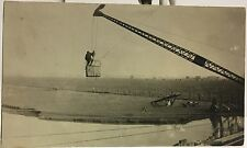 RPPC Real Photo Postcard Man On Bucket Of Steamshovel Suspended Over Water
