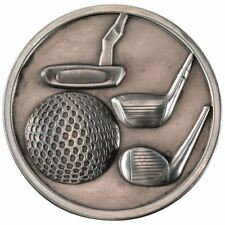 GOLF CLUBS MEDALLION - ANTIQUE SILVER 2.75in PACK OF TEN