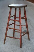 Vintage Wood Drafting Stool Chair industrial wood bar island red workbench table