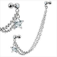 "16g 1/4"" Dangle One Star Barbell Ear Earring Cartilage Helix Chain Link CZ"