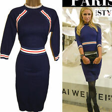 Karen Millen Celebrity Navy Stripe Knit Cocktail Bodycon Jumper Dress Medium 12