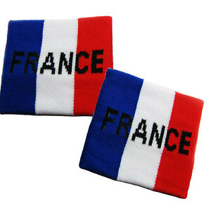 Pair of FRANCE Flag Sweatband Cheering Squad Sports Fans Sports Wristband EURO