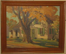 Vintage NORD BOWLEN New England Home LANDSCAPE Painting -LISTED Lunt Silversmith