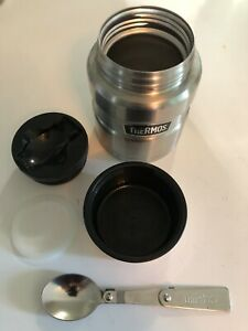 Thermos Vacuum Food Jar W Spoon 16 Oz Stainless Travel Hot Cold W Rubber Seal!