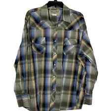 Wrangler Mens Wrancher Pear Snap Western Shirt Size 2X Blue Green Plaid
