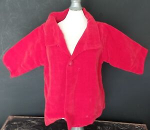 VINTAGE! RED VELVET Jacket/COAT with snap for COMPOSITION or HARD PLASTIC DOLL
