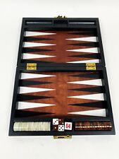 VINTAGE Magnetic Backgammon Set (may be Bakelite) Marble Rootbeer White Swirl