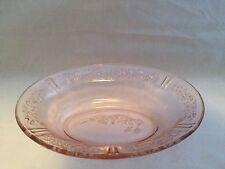 Depression Era Federal Glass Cabbage Rose Sharon Pink Oval Bowl