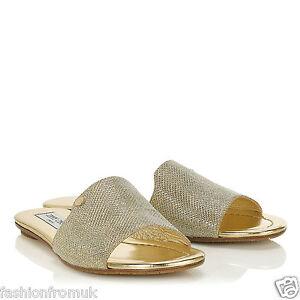 JIMMY CHOO NANDA Gold Glitter Flat luxury Sandals 35