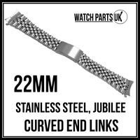 22mm Jubilee Gents Bracelet Stainless Steel Watch Strap With Curved End Links