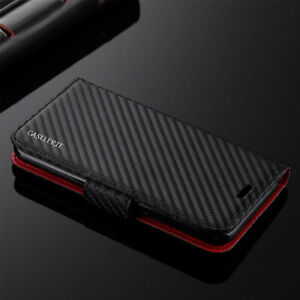 Samsung S20 FE S21+ S10 A12 A21S A42 Carbon Fibre Leather Wallet Flip Case Cover