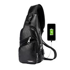 Men's Leather Black Bag Shoulder Pack USB Charging Port Sports Crossbody Handbag