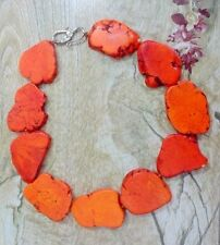Special Chunky Orange Turquoise Slice Handmake bib Necklace Woman Gift 18inch